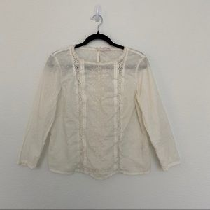 MELROSE AND MARKEY Off White Long Sleeve Crochet Embroidery Crewneck Size M